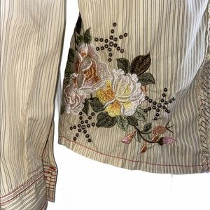 Johnny Was 3J Workshop Embroidered Button Shirt